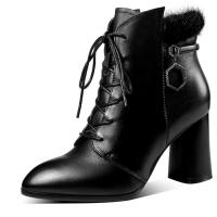 2018新款貂毛真皮靴子女高跟鞋粗跟短靴女冬秋马丁靴尖头大码女靴软底 黑色(绒里)