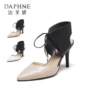 Daphne/达芙妮vivifleurs系列  秋季女鞋系带尖头浅口细高跟单鞋