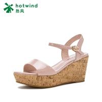 热风坡跟漆皮女士凉鞋露趾时装高跟凉鞋H55W8603