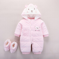 婴儿连体衣冬装女加厚新生儿衣服初生男宝宝哈衣外出抱衣保暖夹棉