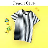 【专区119元4件】铅笔俱乐部男童2020夏季新款黑白条纹短袖T恤衫