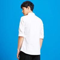 【2件2.5折到手价:29】美特斯邦威2019春装新款衬衫男韩版简约都市商务白衬衫潮商场款