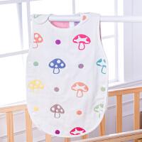 六层纱布睡袋蘑菇夏季纯棉四季儿童婴儿防踢被宝宝背心式春秋