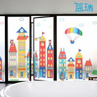 卡通玻璃贴膜 磨砂静电膜教室窗户幼儿园玻璃门贴纸 小熊镇 磨砂静电膜 定制尺寸