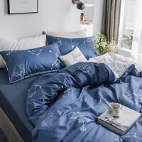 ???十二星座四件套深色系纯棉床单被罩简约1.8m床笠款床上用品三件套 星座物语