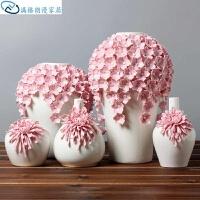 中式摆件摆件花瓶陶瓷创意干花清新中式手工装饰居家菊花摆件禅意*家居饰品