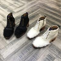 秋冬新款圆头马毛羊毛系带女靴短筒靴复古冬季保暖