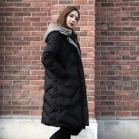 棉袄女冬装韩版假两件棉衣女中长款保暖加厚羽绒外套