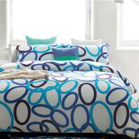 天竺棉四件套针织纯棉全棉简约北欧被套床单床上用品套件 色彩几何图案