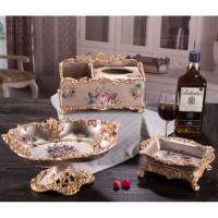 欧式果盘三件套装家居客厅茶几装饰品树脂水果盘纸抽盒烟灰缸摆件 玫瑰金三件套
