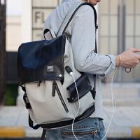 男士双肩包男韩版时尚背包男大高中学生书包男包包皮包潮牌电脑包