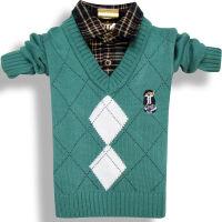 儿童男毛衣小孩打底衫宝宝春秋冬线衣衬衫领假两件针织衫