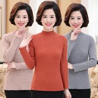 妈妈装长袖针织衫显瘦大码宽松打底衫中老年半高领毛衣秋冬季女装