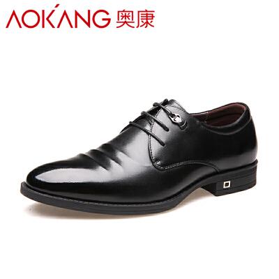 奥康男鞋秋季皮鞋男真皮英伦商务正装男士尖头系带鞋子男婚鞋潮鞋
