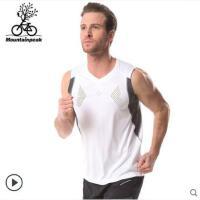 圆领套头简约无袖跑步背心宽松透气男健身t恤 运动衫短袖速干