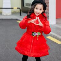 童装2018冬装新款女童棉衣外套中长款韩版中大童加厚保暖棉袄