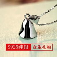欧丁925银项链吊坠女韩国闺蜜铃铛短款锁骨链饰品情人节送女友礼物T