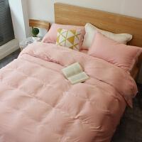 欧美 春夏60支双面色天丝四件套欧式被套床上用品 红色 香妃粉