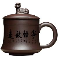 宜兴茶具紫砂杯带盖刻字纯紫泥内胆过滤全手工卧虎藏龙茶杯子办公 升级版 宁静致远