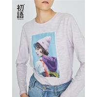 初语紫色T恤女长袖2018秋冬新款人物头像基础款纯棉百搭打底上衣#