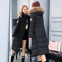 中长款棉衣女2018冬季新款韩版修身连帽加厚羽绒外套过膝棉袄