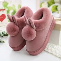 高跟棉拖鞋女冬季包跟厚底室内毛绒可爱月子家居棉鞋冬天居家保暖