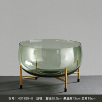 玻璃花瓶大果盘摆件现代简约家居客厅软装饰品样板房创意摆设 大果盘 HD1828-8