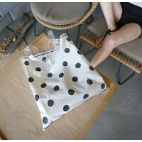 夏季小包包女2018新款波点透明帆布包女单肩包ins超火韩版手提包
