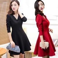 新款春秋装加厚连衣裙红色裙气质显瘦长袖打底裙冬敬酒小礼服