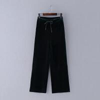351 秋冬新款欧美范松紧腰纯色女式休闲裤阔腿裤