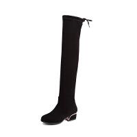 冬季新款弹力靴过膝长筒靴中跟大码40胖mm粗腿41粗跟43大筒围女靴SN5139