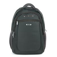 防水尼龙双肩背包韩版时尚牛津布包15寸电脑包简约高中大学生书包 墨绿色 墨绿灰