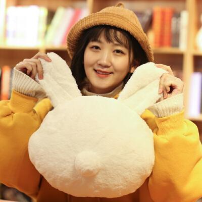 可爱萌背影兔兔子冬季暖手捂抱枕可插手毛绒玩具学生哄女生小玩偶  40厘米