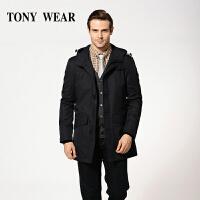 TONY WEAR/汤尼威尔秋季男士商务连帽款休闲长袖带帽风衣