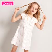【秒��r:29】笛莎童�b女童�B衣裙20夏季新款中大童�和�印花小女孩亮�z�l�y裙