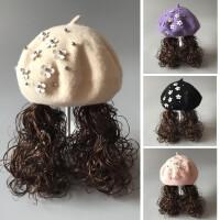 女童羊毛呢长发贝雷帽儿童帽帽子女宝宝小女孩礼帽秋冬假发帽