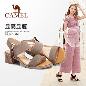 Camel/骆驼女鞋 2018夏季新款 韩版休闲粗跟凉鞋简约舒适高跟鞋套脚凉鞋