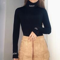 2018秋冬季字母印花加绒保暖打底衫女长袖T恤修身显瘦连体上衣潮 黑色