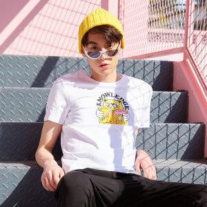 【领券即享100元任选4件】美特斯邦威 短袖T恤男士2018夏季新款百搭趣味卡通动物猫印花T恤