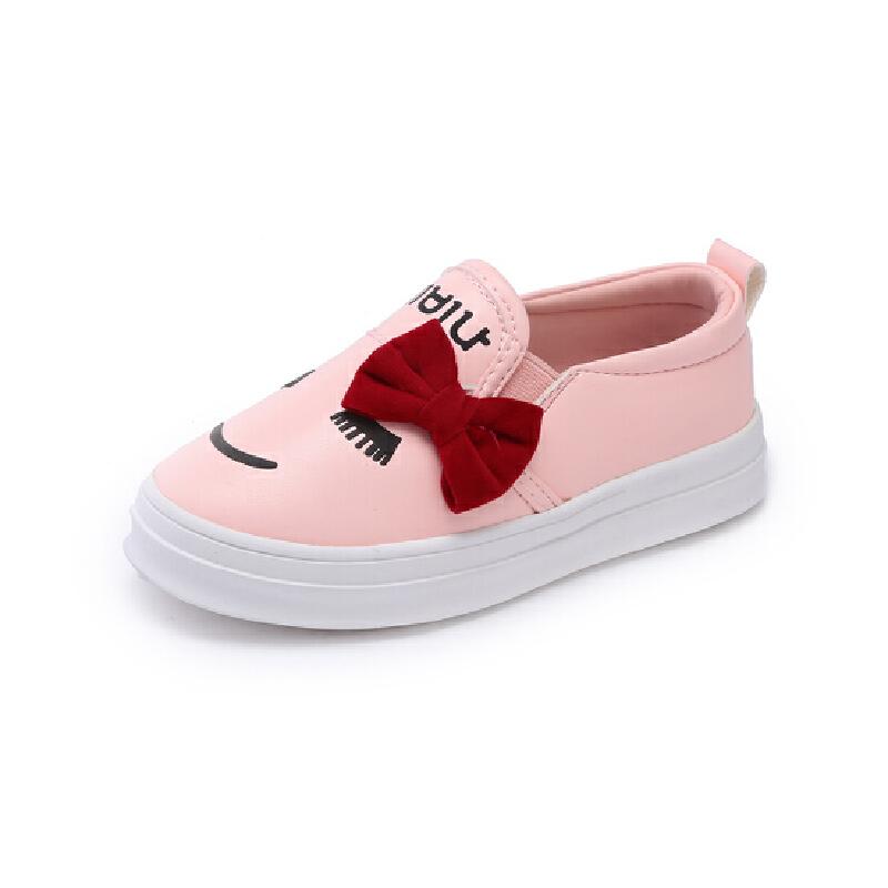 比比我儿童鞋男童女童蝴蝶贴布皮鞋低帮一脚蹬懒人鞋2017春秋宝宝鞋
