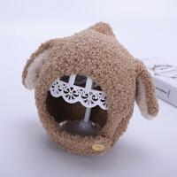 婴儿帽子冬季宝宝护耳帽6个月-3岁1可爱耳朵潮男童女童儿童毛绒帽 卡其色 长耳毛绒帽 均码