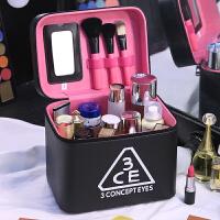 加高双层化妆包大容量便携洗漱收纳盒韩国简约大号化妆箱手提