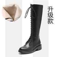 2018新款秋冬白色马丁长靴女网红平底绑带高筒靴不过膝骑士靴子瘦SN2614