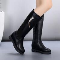 学生鞋女秋冬季皮靴子 女童高筒靴公主鞋韩版中筒靴 大童黑色长靴