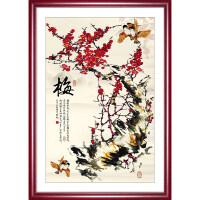 梅兰菊竹字画国画中式客厅装饰画现代简约三联有框画餐厅挂画壁画