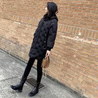 棉袄女冬装新款韩版中长款刺绣宽松棉衣加厚连帽羽绒外套 黑色