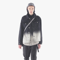 2018新款夹克男 潮牌方领男士外套春秋款套装韩版帅气休闲 黑色