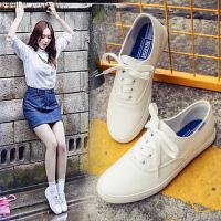 小白鞋女帆布鞋郑秀晶同款鞋系带平底休闲鞋韩版学生白色运动女鞋0207