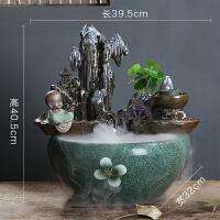 禅意陶瓷流水喷泉家居室内盆景新中式简约招财创意小摆件装饰礼品