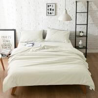 20181025173850110纯色网红床上用品纯棉磨毛1.5m床单被套三件套全棉1.8m床笠四件套 白色 -单色